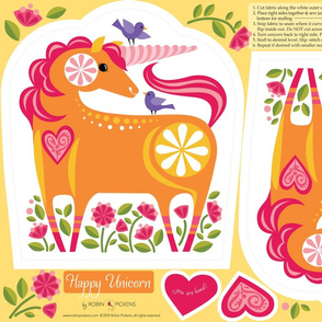 Happy Unicorn Plushie Pillow_Orange