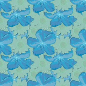 Scuba Blue and Lucite Green Floral