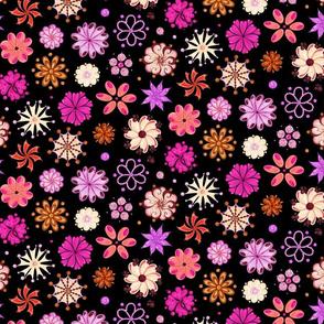 Fancy Flowers- Ornate Pink- Large- Black Background