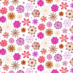 Fancy Flowers- Orante Pink- Large- White Background