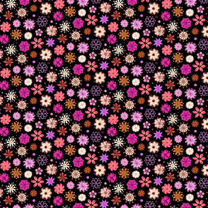 Fancy Flowers- Ornate Pink- Small- Black Background