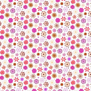 Fancy Flowers- Ornate Pink- Small- White Background