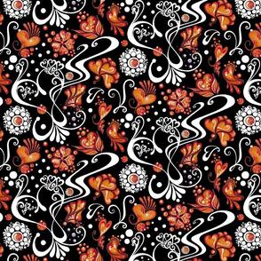 Hearts- Swirly- Orange Flowers- Large- Black Background