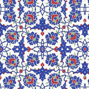 Blue and red tile design