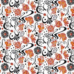 Hearts- Swirly- Black- Orange Flowers- Large- White Background