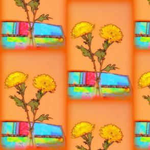 Spring~flowers on orange