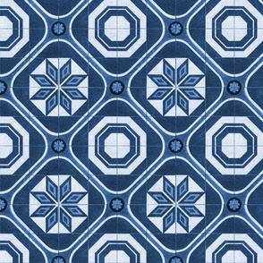 Starburst Tile ~ Lonely Angel Blue and White