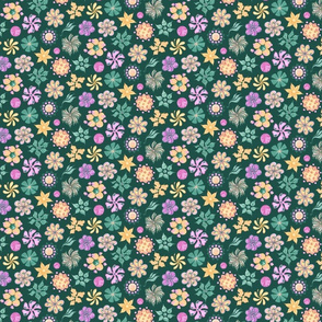 Celebrational Flowers- Small- Green Background, Green Pink Yellow Ornate Flowers Bloom