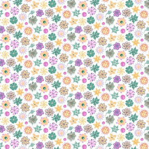 Celebrational Flowers- Small- White Background, Green, Pink, Yellow, Ornate Flowers Blooms