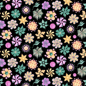 Celebrational Flowers- Large- Black Background- Green, Pink, Yellow Ornate Flowers Blooms