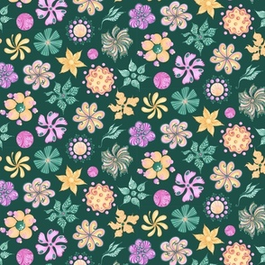 Celebrational Flowers- Large- Green Background, Green, Pink, Yellow, Ornate Flowers Bloom