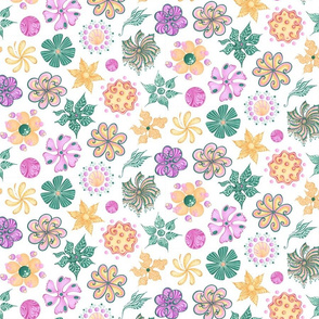 Celebrational Flowers- Large- White Background, Green, Pink, Yellow, Ornate Flowers Blooms