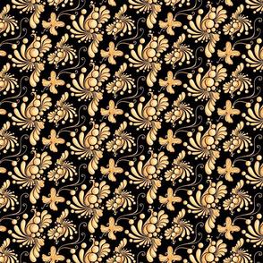 Golden Balls- Small- Black Background- Ornate Swirly Butterfly Designs