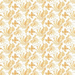 Golden Balls- Small- White Background, Ornate, Swirly, Butterflies, Designs