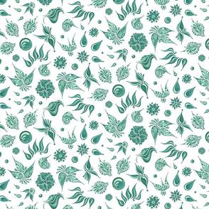 Lovely Leaves- Large- White Background- Green Leaves