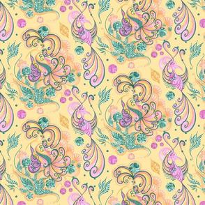 Celebrational Birds Music Notes Leaves- Yellow Background