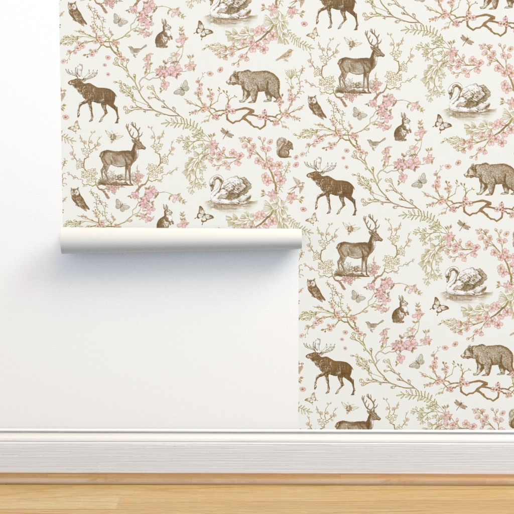 Isobar Durable Wallpaper featuring Woodland Spring Toile (Sepia) by nouveau_bohemian