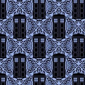Damask Police Box - Black on Blue