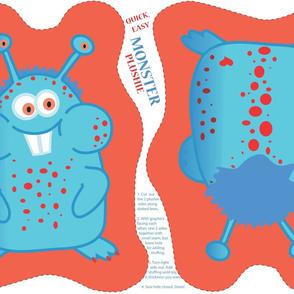 Monster Plushie (red/orange/blue) - by Kara Peters
