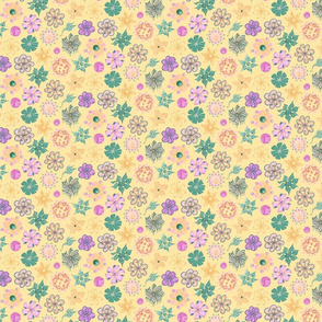Celebrational Flowers- Small- Yellow Background, Green, Pink, Yellow, Ornate Flowers Bloom