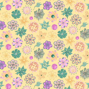 Celebrational Flowers- Large- Yellow Background, Green, Pink, Yellow Ornate Flowers Bloom