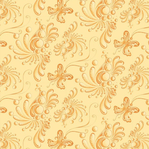Golden Balls- Large- Yellow Background, Ornate Swirly Butterflies, Designs