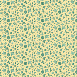 Lovely Leaves- Small- Yellow Background, Green Leaves