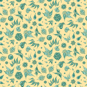 Lovely Leaves- Large- Yellow Background, Green Leaves