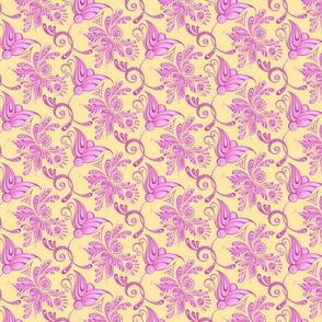 Purple Pretties- Small- Yellow Background, Flower Bud Designs