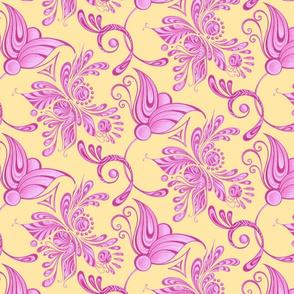 Purple Pretties- Large- Yellow Background, Flower Bud Designs