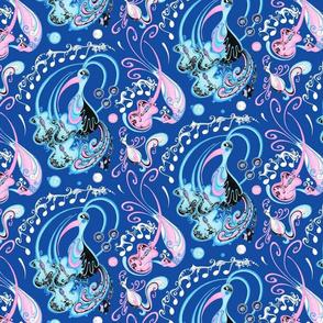 Blue Bird Pink Guitars Music Notes