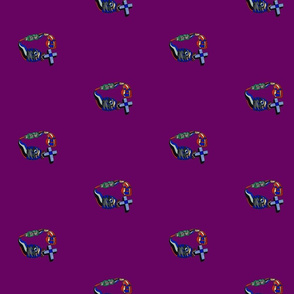 Cartoon stain glass design featuring a fish, cross, toothpaste tube and pumpkin. Purple background