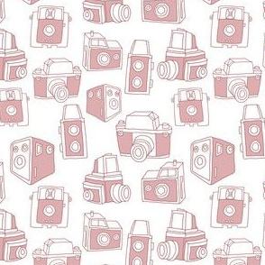 Hand-drawn Vintage Cameras (White)