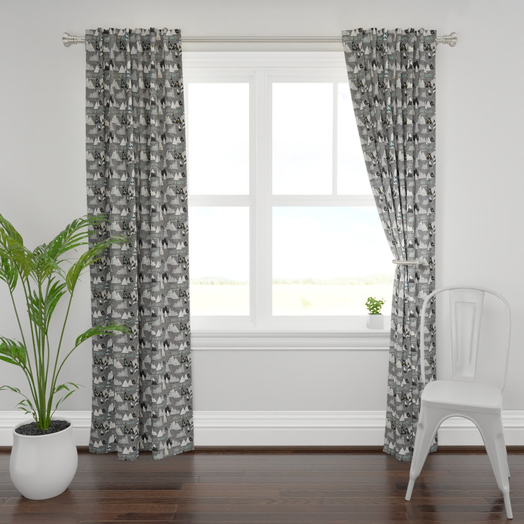 Plymouth Curtain Panel featuring Adventure Awaits (charcoal) REGULAR by nouveau_bohemian
