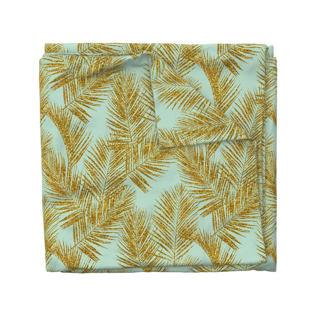 Wyandotte Duvet Cover featuring gold glitter palm leaves - mint, large. silhuettes faux gold imitation tropical forest mint background hot summer palm plant leaves shimmering metal effect texture fabric wallpaper giftwrap by mirabelleprint