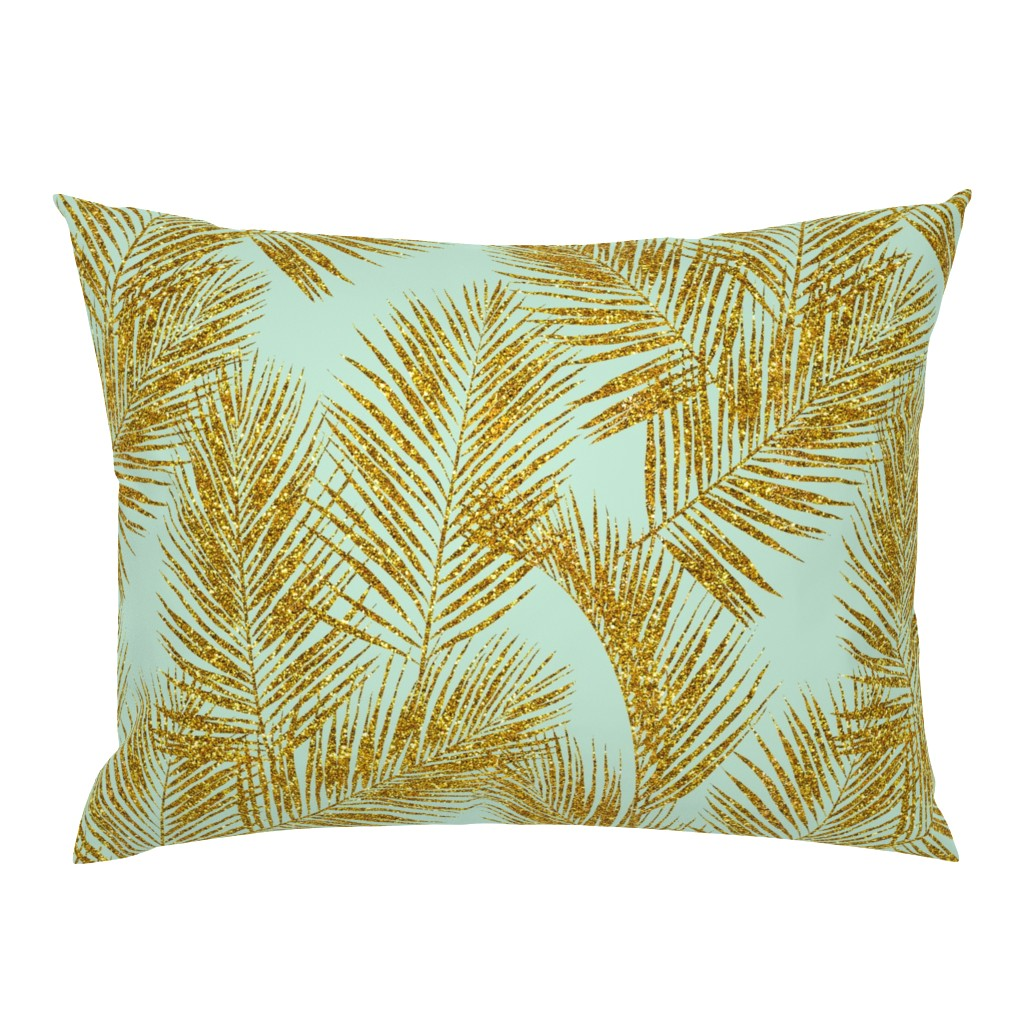 Campine Pillow Sham featuring gold glitter palm leaves - mint, large. silhuettes faux gold imitation tropical forest mint background hot summer palm plant leaves shimmering metal effect texture fabric wallpaper giftwrap by mirabelleprint