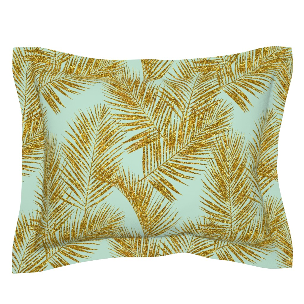 Sebright Pillow Sham featuring gold glitter palm leaves - mint, large. silhuettes faux gold imitation tropical forest mint background hot summer palm plant leaves shimmering metal effect texture fabric wallpaper giftwrap by mirabelleprint