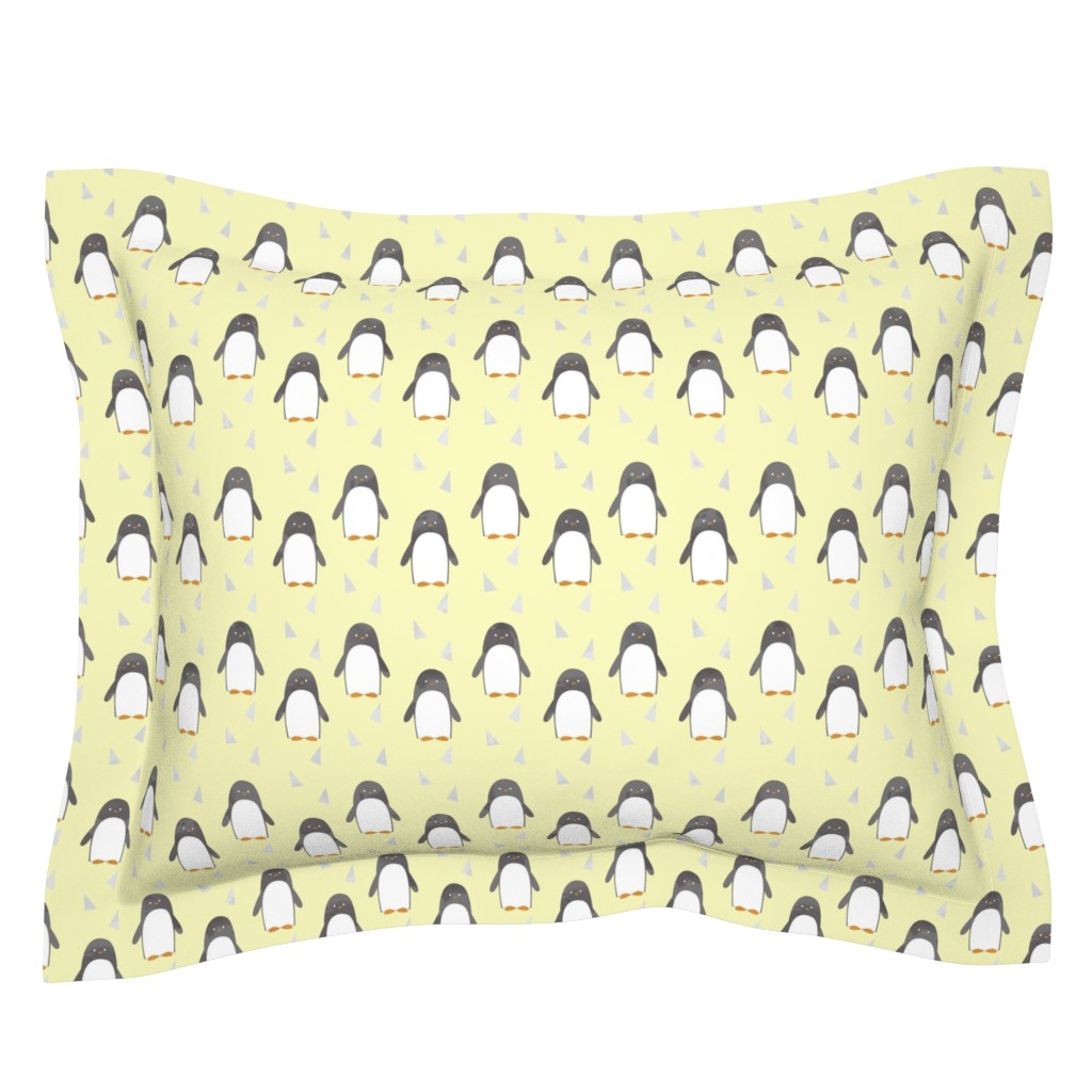 Sebright Pillow Sham featuring Ice Cold Penguins - Yellow - Large Scale  by papercanoefabricshop