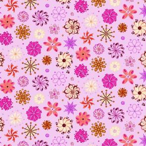 Fancy Flowers- Ornate- Large- Light Pink Background