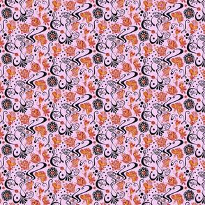 Hearts- Small- Swirly- Black- Pink- Orange