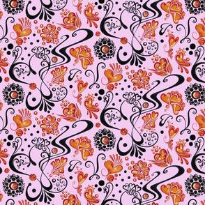 Hearts- Large- Light Pink- Swirly- Orange
