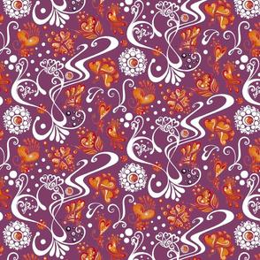 Hearts- Large- Swirly- Orange Flowers- Magenta