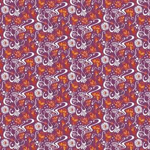Hearts- Small- Swirly- Orange Flowers- Magenta