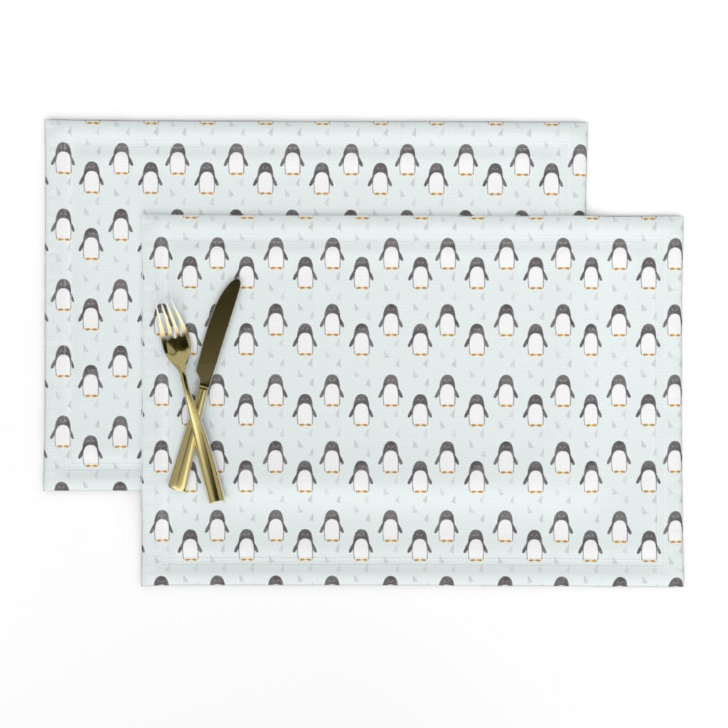 Lamona Cloth Placemats featuring Ice Cold Penguins - Blue - Small Scale by papercanoefabricshop