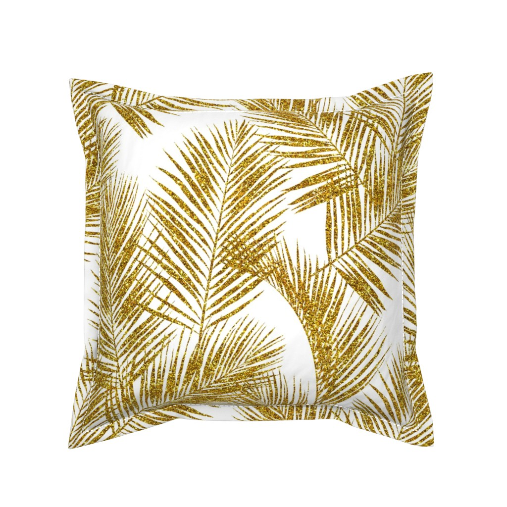 Serama Throw Pillow featuring gold glitter palm leaves - white, large.   silhuettes faux gold imitation tropical forest white background hot summer palm plant leaves shimmering metal effect texture fabric wallpaper giftwrap by mirabelle_print