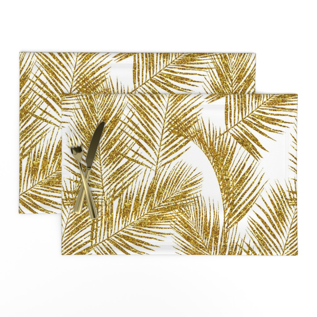 Lamona Cloth Placemats featuring gold glitter palm leaves - white, large.   silhuettes faux gold imitation tropical forest white background hot summer palm plant leaves shimmering metal effect texture fabric wallpaper giftwrap by mirabelleprint