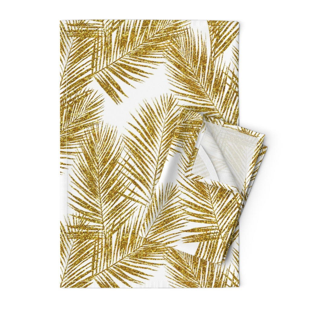 Orpington Tea Towels featuring gold glitter palm leaves - white, large.   silhuettes faux gold imitation tropical forest white background hot summer palm plant leaves shimmering metal effect texture fabric wallpaper giftwrap by mirabelleprint