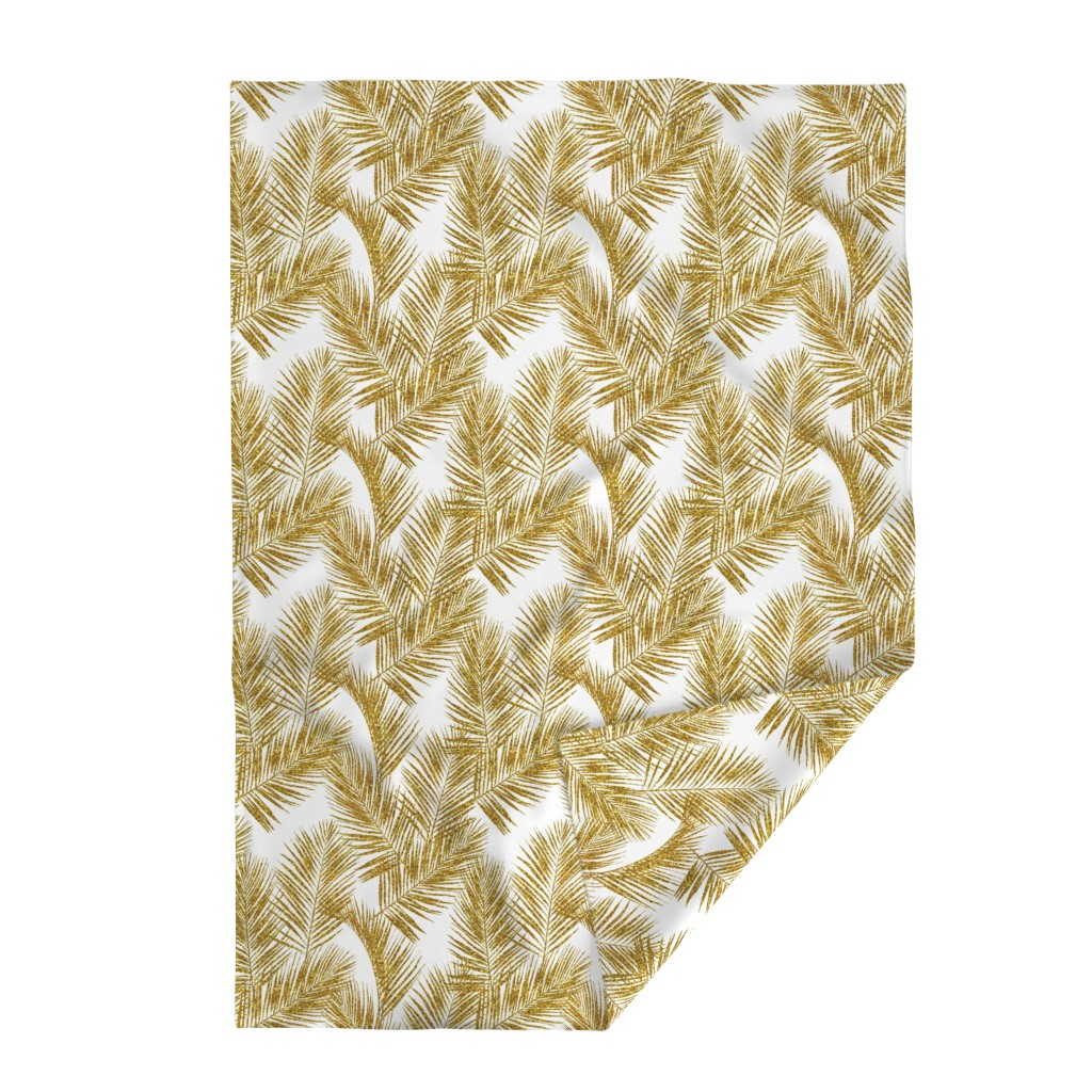 Lakenvelder Throw Blanket featuring gold glitter palm leaves - white, large.   silhuettes faux gold imitation tropical forest white background hot summer palm plant leaves shimmering metal effect texture fabric wallpaper giftwrap by mirabelleprint
