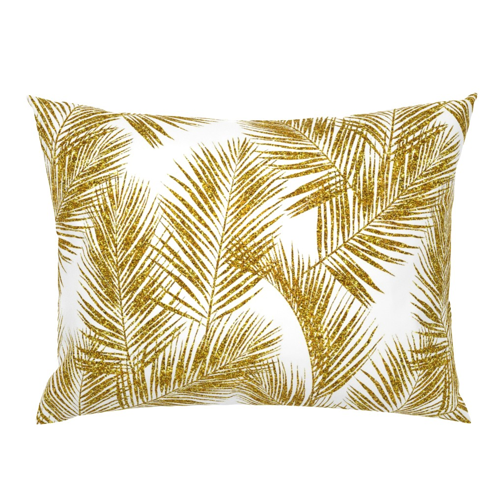 Campine Pillow Sham featuring gold glitter palm leaves - white, large.   silhuettes faux gold imitation tropical forest white background hot summer palm plant leaves shimmering metal effect texture fabric wallpaper giftwrap by mirabelleprint