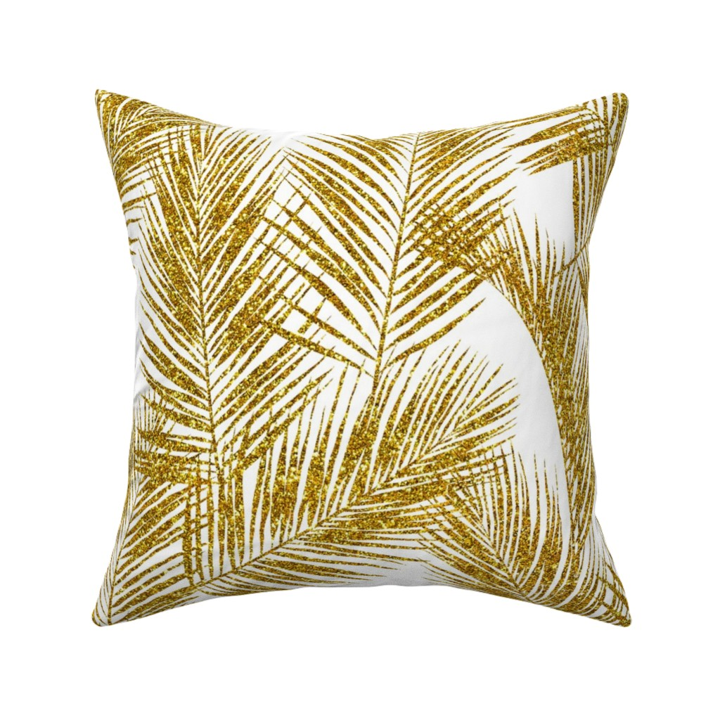 Catalan Throw Pillow featuring gold glitter palm leaves - white, large.   silhuettes faux gold imitation tropical forest white background hot summer palm plant leaves shimmering metal effect texture fabric wallpaper giftwrap by mirabelle_print